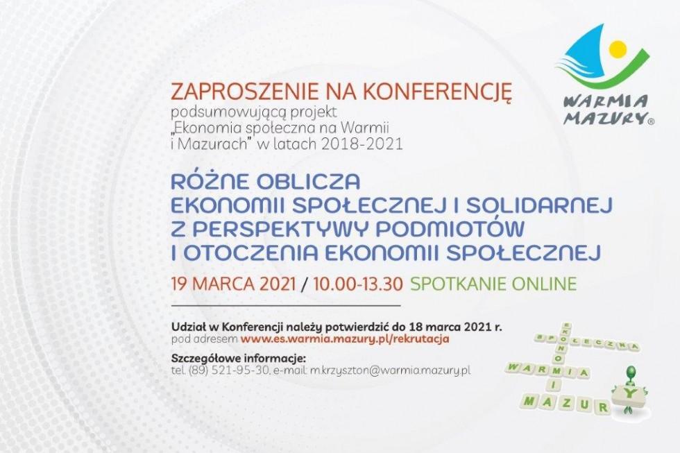 """Konferencja na podsumowanie projektu """"Ekonomia społeczna na Warmii i Mazurach"""""""