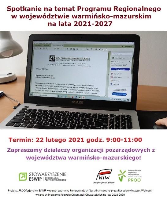 Spotkanie organizacji pozarządowych ws. nowego Programu Regionalnego 2021-2027